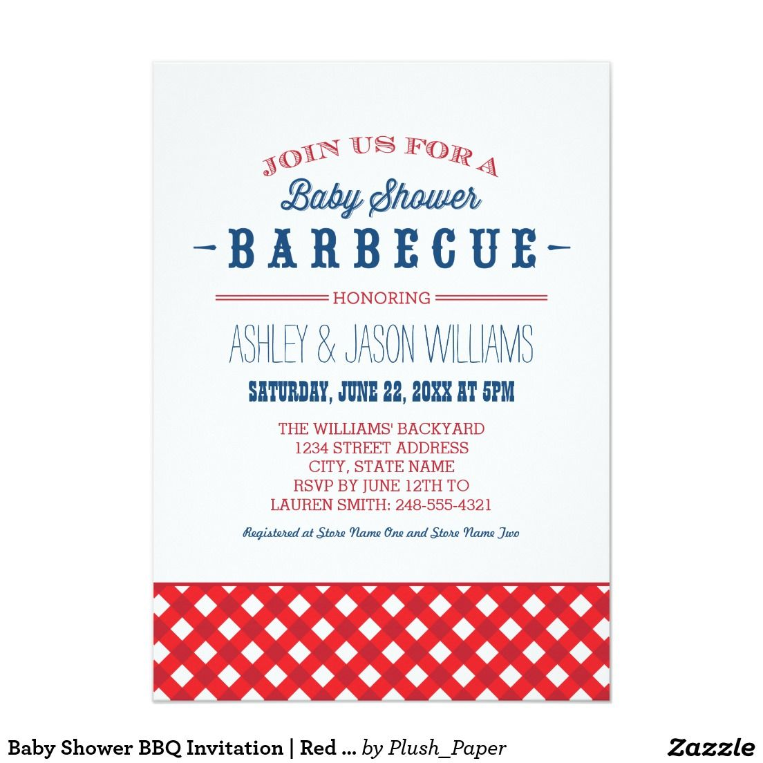 Baby Shower BBQ Invitation | Red White + Blue\'.Festive and stylish ...