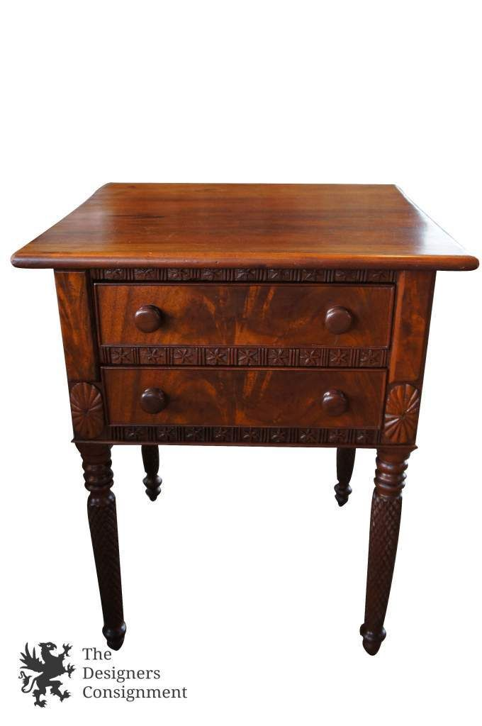 Antique Walnut Burlwood Carved Side Accent Table Two Drawer Nightstand |  The Designers Consignment