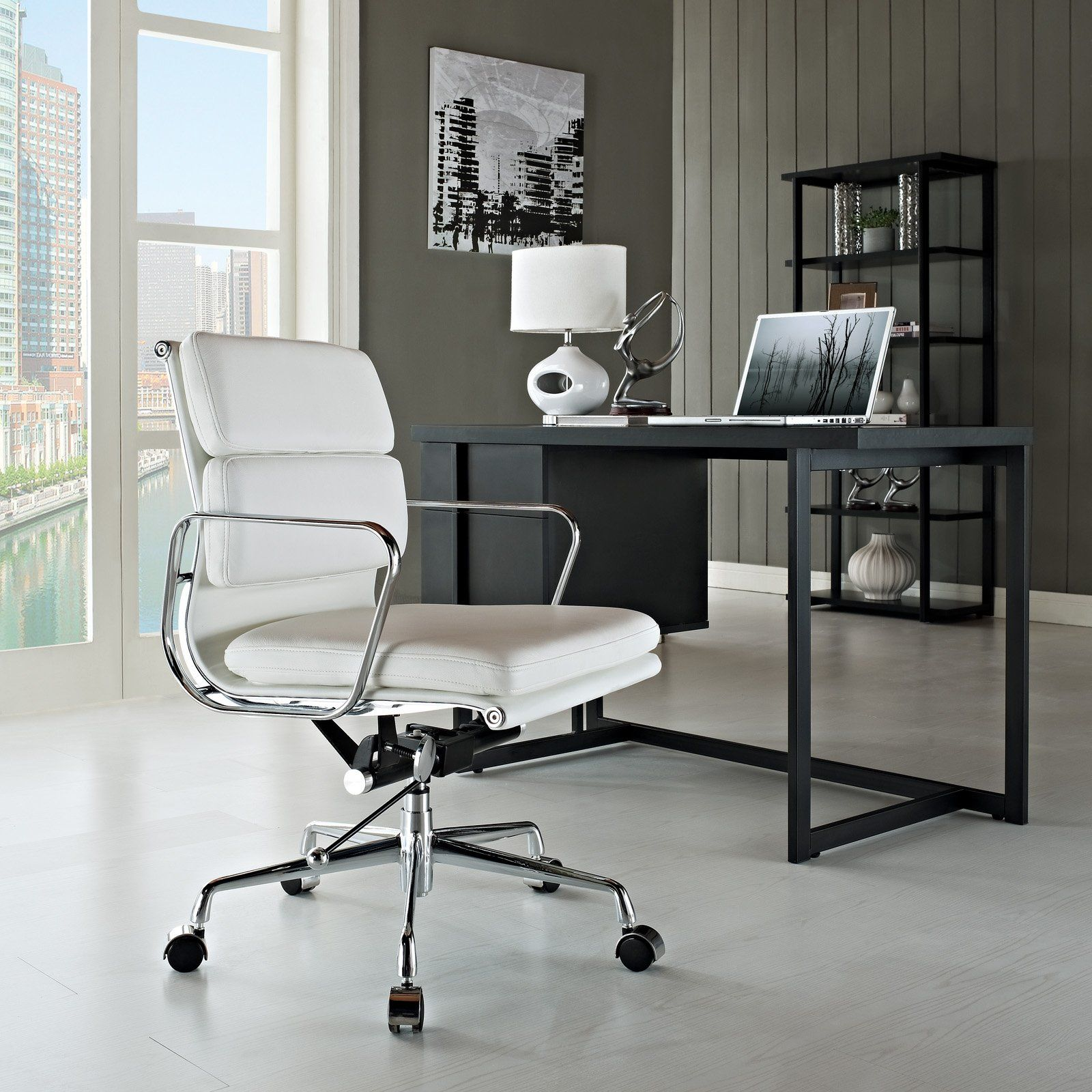 office chair genuine leather white. Amazon.com - LexMod Discovery Mid Back Leather Conference Office Chair In White Genuine