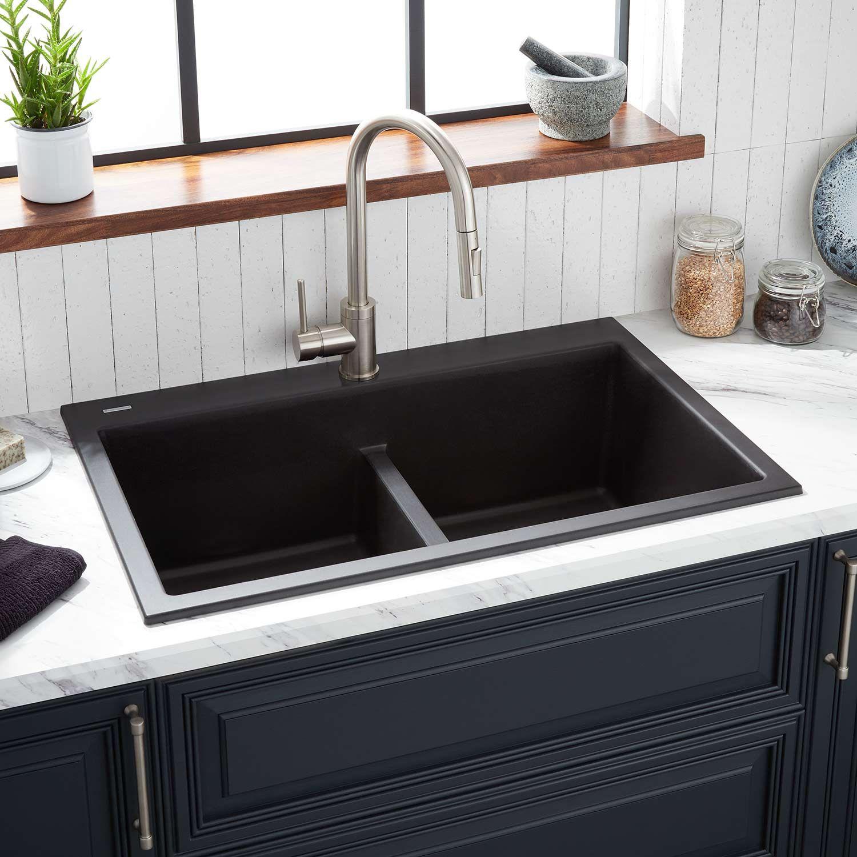 33 Algren Double Bowl Drop In Granite Composite Sink In Black