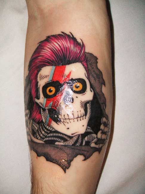 """""""David Bowie X Ziggy Stardust X Powell Peralta Ripper tattoo"""" NO. That is Aladdin Sane, not Ziggy. And Aladdin implies Bowie. Click on photo for more!"""