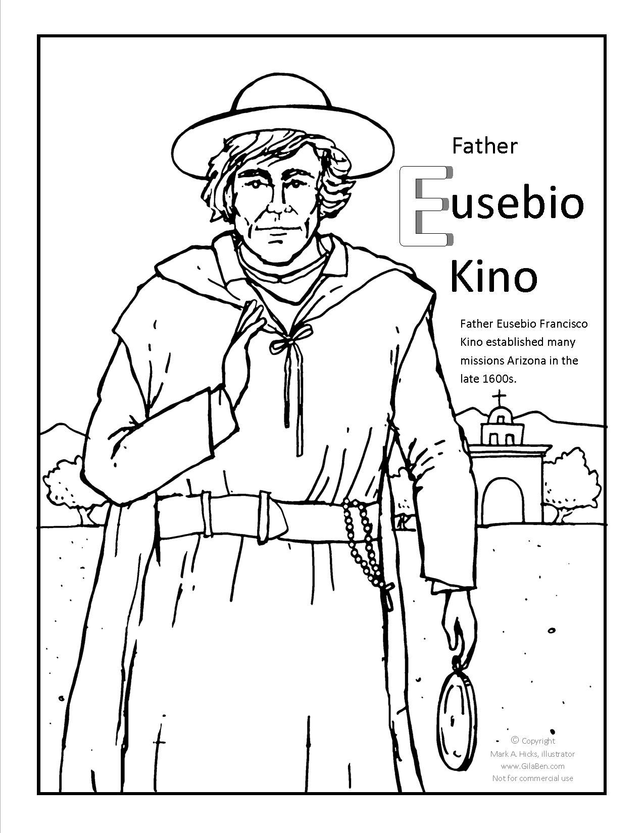 Father Kino Coloring page at GilaBen.com | Arizona Coloring Pages ...