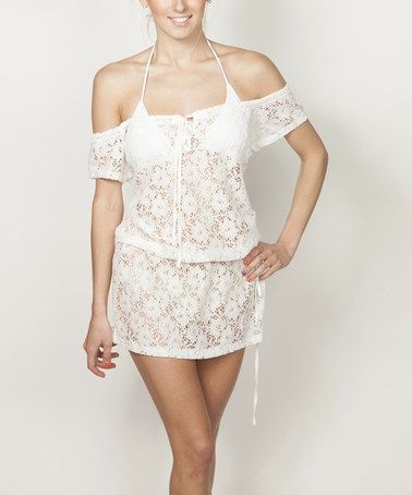 Another great find on #zulily! White Sheer Floral Lace Off-Shoulder Cover-Up #zulilyfinds