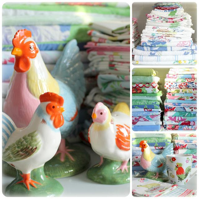 from birdie blue blog...her chickens and vintage tablecloths are amazing!!!