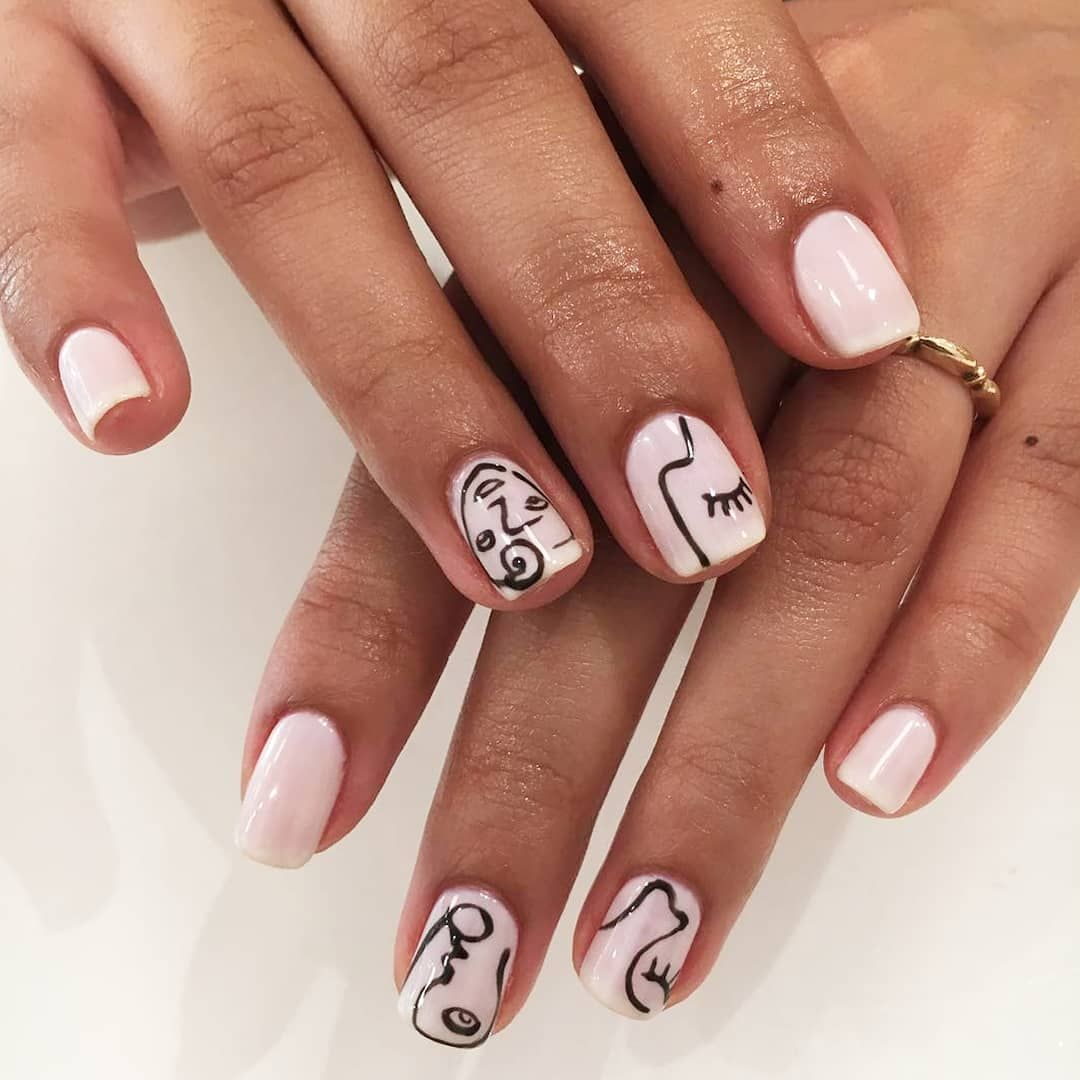 We Love Going Picasso On Your Mani Oliveyourmani Hand Drawn Nail Art By Danicures Opi Funny Bunn Wedding Acrylic Nails Vintage Nails Nail Drawing