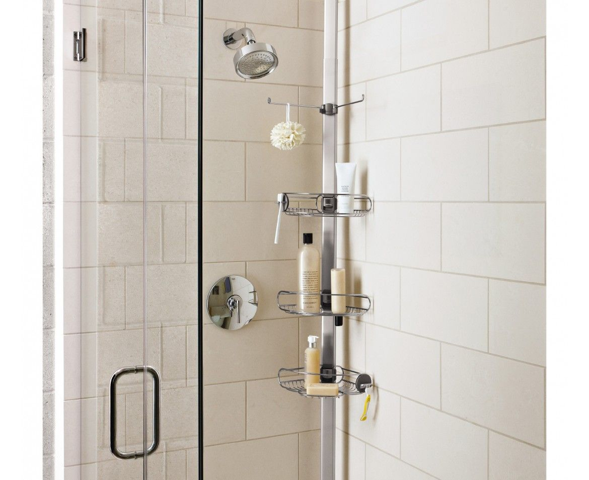 Tension shower caddy stainless steel + anodised aluminium ...