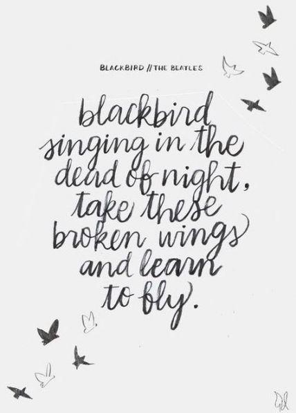 Blackbird Script Heart Quote Song Lyric Print