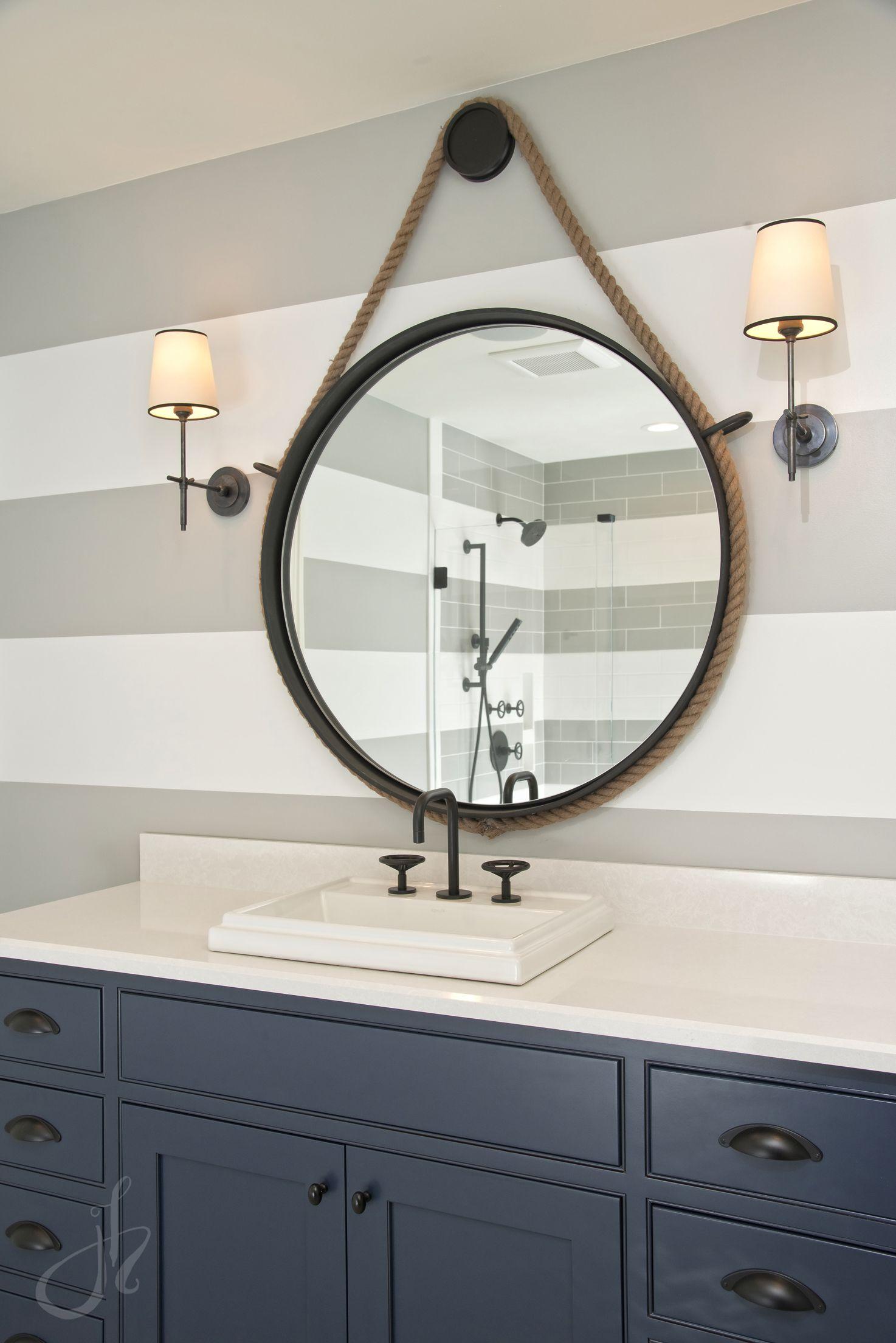 Boys Bathroom Navy Cabinet Stripes Round Mirror Boys Beach