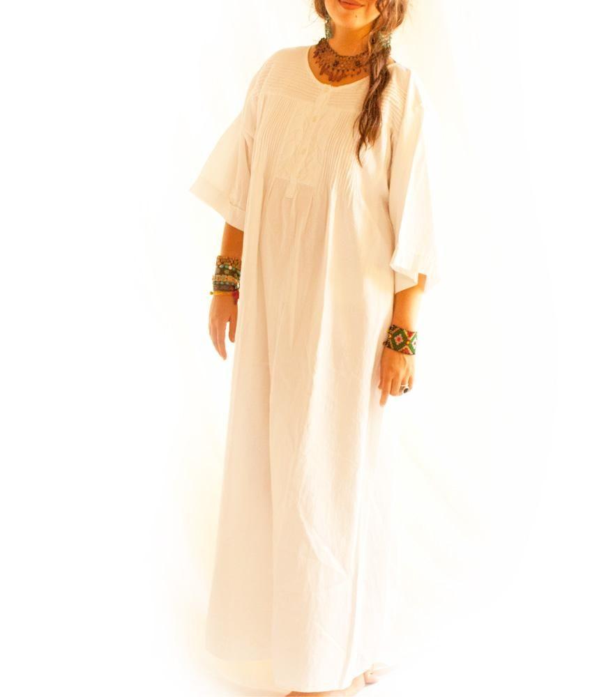 Mixtli Pleated Long Pure White Cotton Dress Dresses Mexico