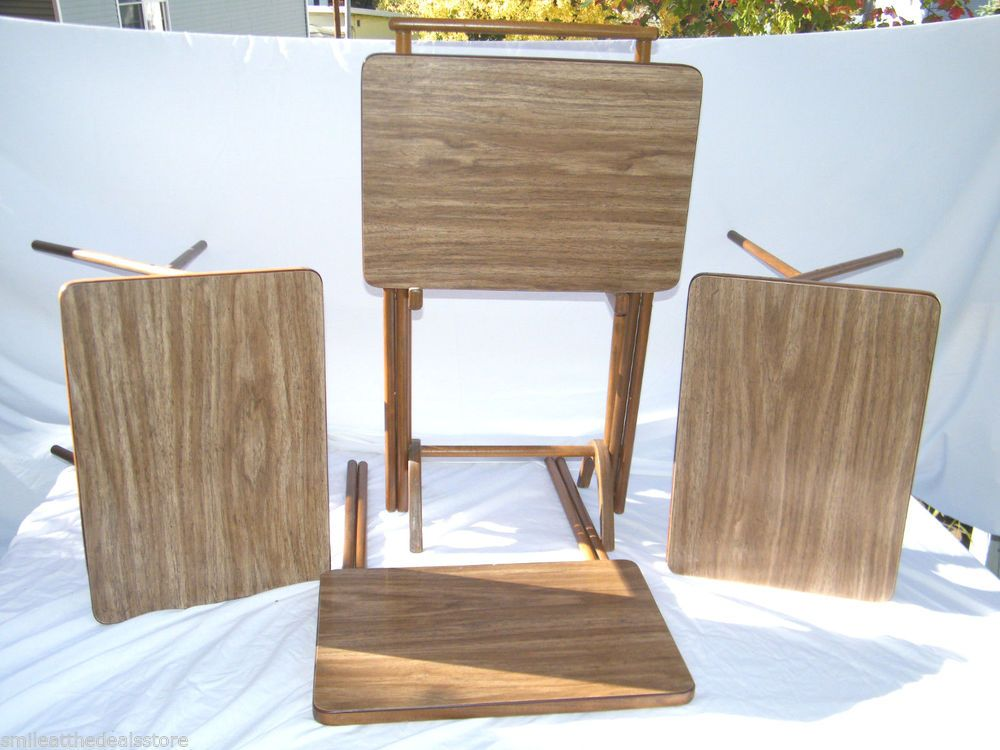 4 VINTAGE MID CENTURY BROWN WOOD TV TRAY TABLES W/ WOODEN CART SET SCHEIBE?