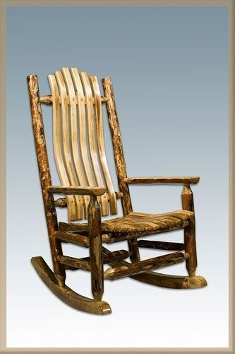 new product c1bb5 079bc Glacier Country Log Rocking Chair Handmade in Montana, USA ...