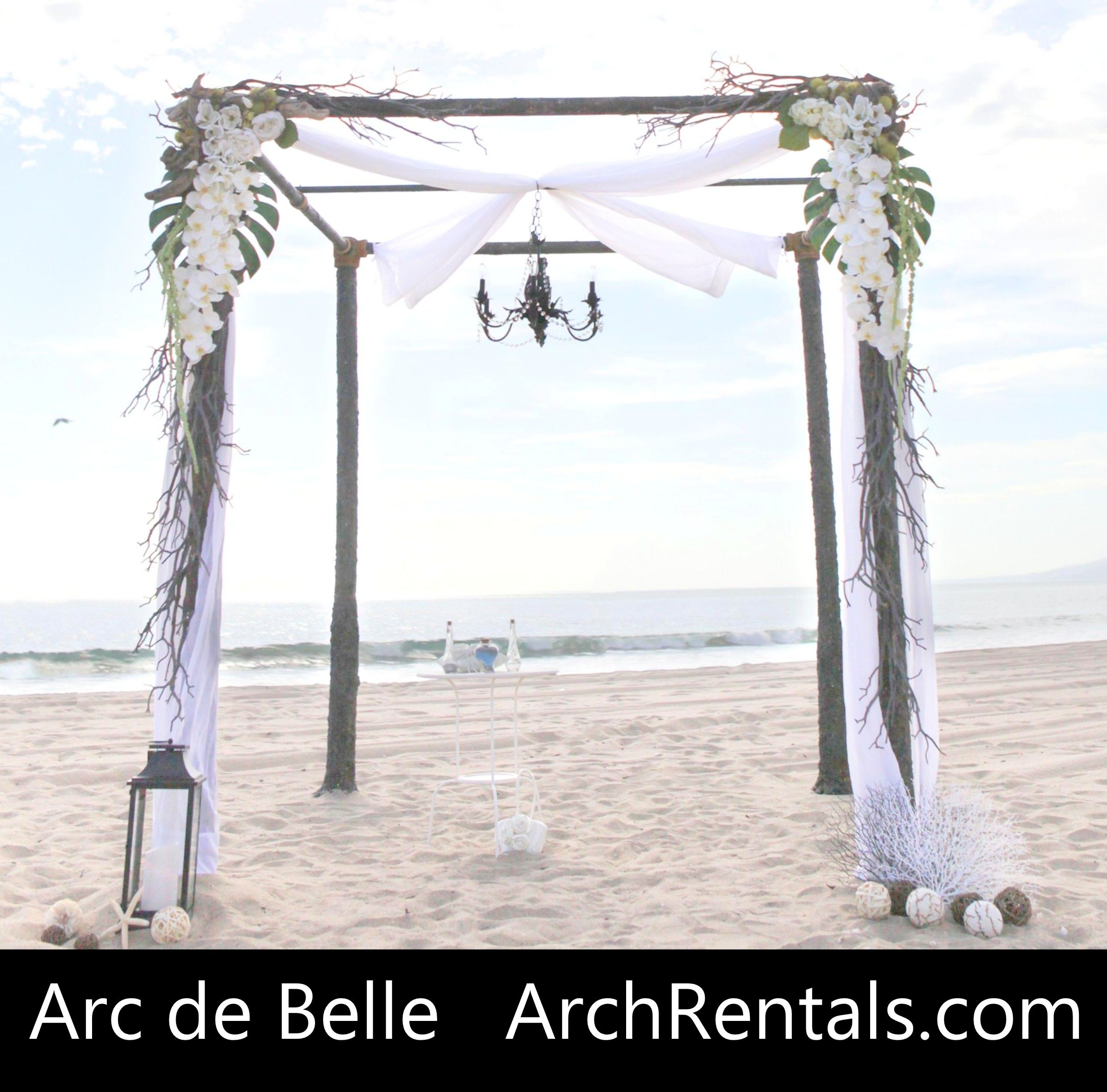 Dark Rustic Wedding Chuppah with Chandelier Rental at Santa Monica
