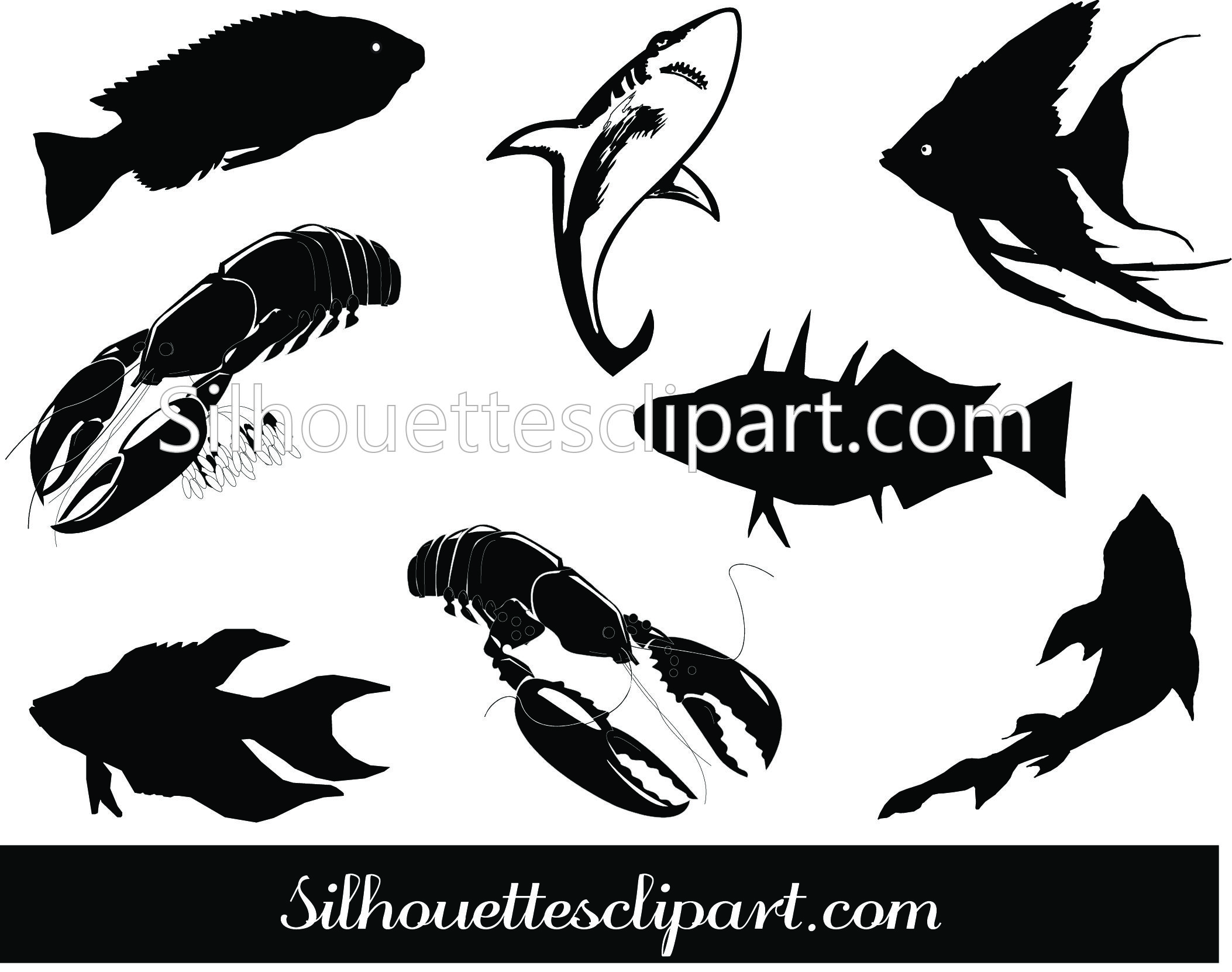 Fish Silhouette Clip Art Download Fish Vectors Fish Silhouette Silhouette Clip Art Fish Vector