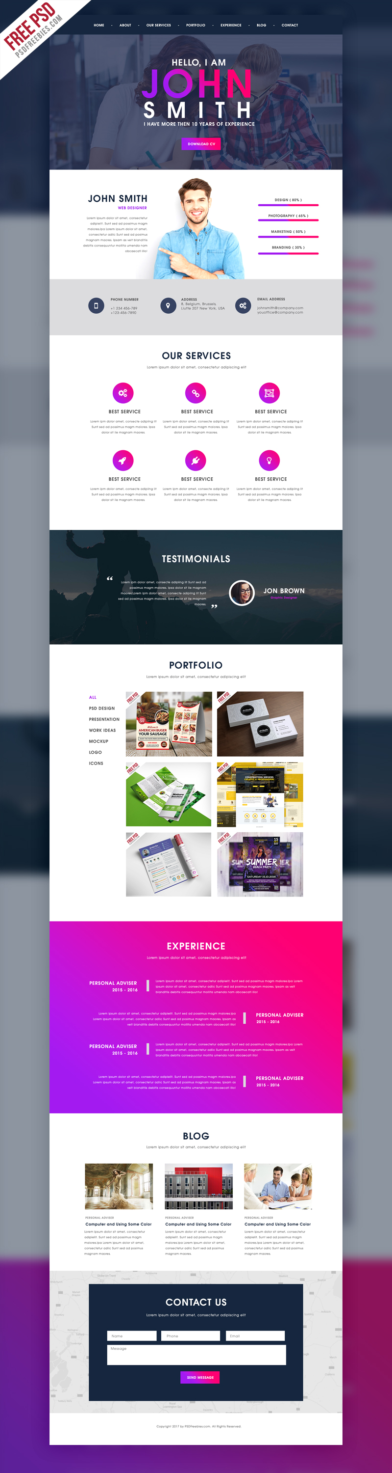 Creative One Page Portfolio Website Template Free Psd Free Web