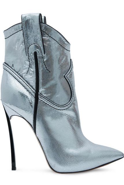 3b58feededd CASADEI Silver Metallic Stiletto Booties Fall Winter 2013  Shoes  Heels  OMG