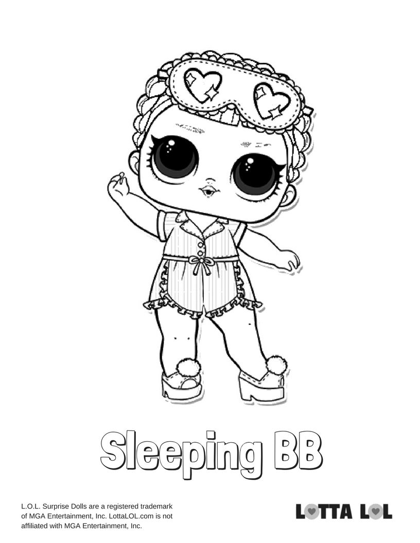 Sleeping Bb Coloring Page Lotta Lol Lol Dolls Kids Printable