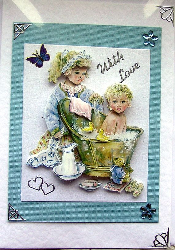 BathTime HandCrafted 3D Decoupage Card  With Love by SunnyCrystals, $3.55