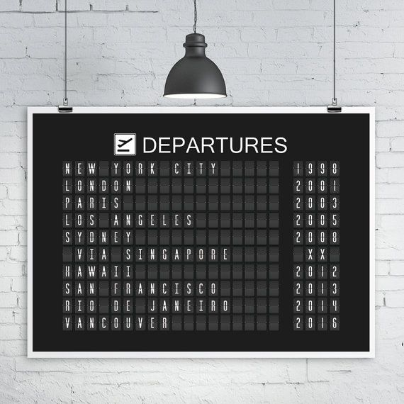 Airport Departures Board Print Split Flap Display Various Sizes