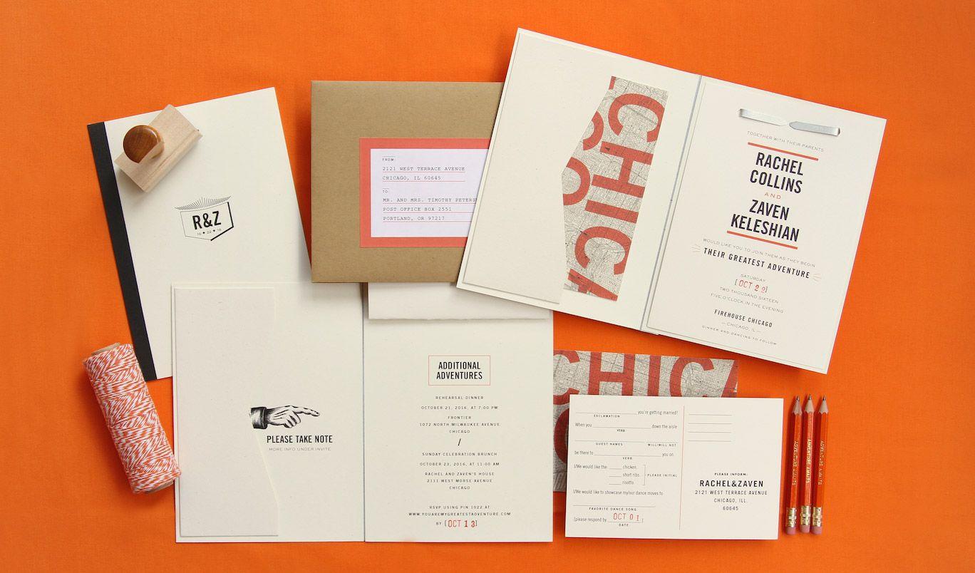 Vintage industrial Chicago Firehouse wedding invitation suite ...