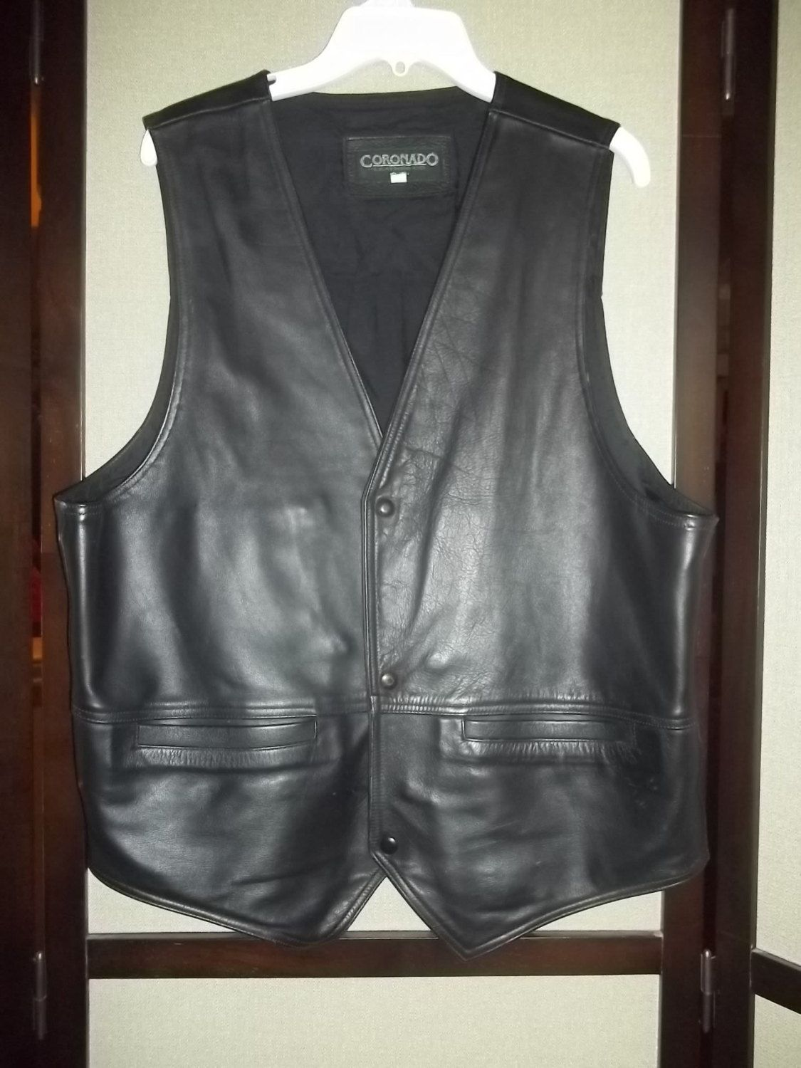 SOLD....Vintage 80's Men Vest - By Coronado Leather Co. Gorgeous Thick Yet Soft Leather - Fully Lined W/Hidden Pockets  Free Shipping by 1stand2ndTimeAround on Etsy