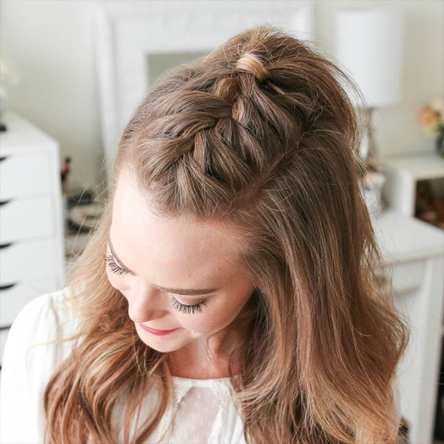Triple French Braid Double Waterfall Mini Bun | MI