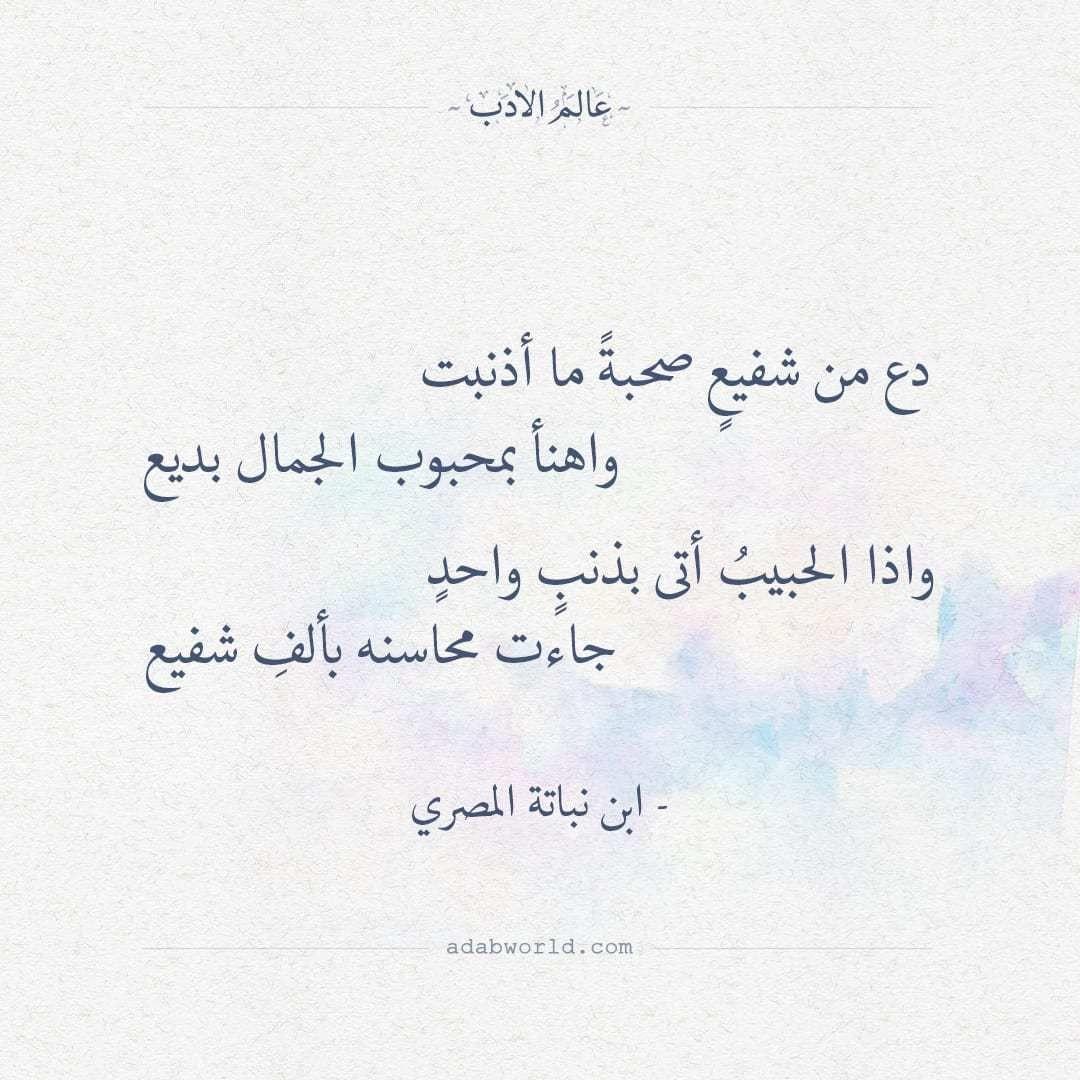 دع من شفيع صحبة ما أذنبت ابن نباته المصري عالم الأدب Quotes Math Arabic Calligraphy