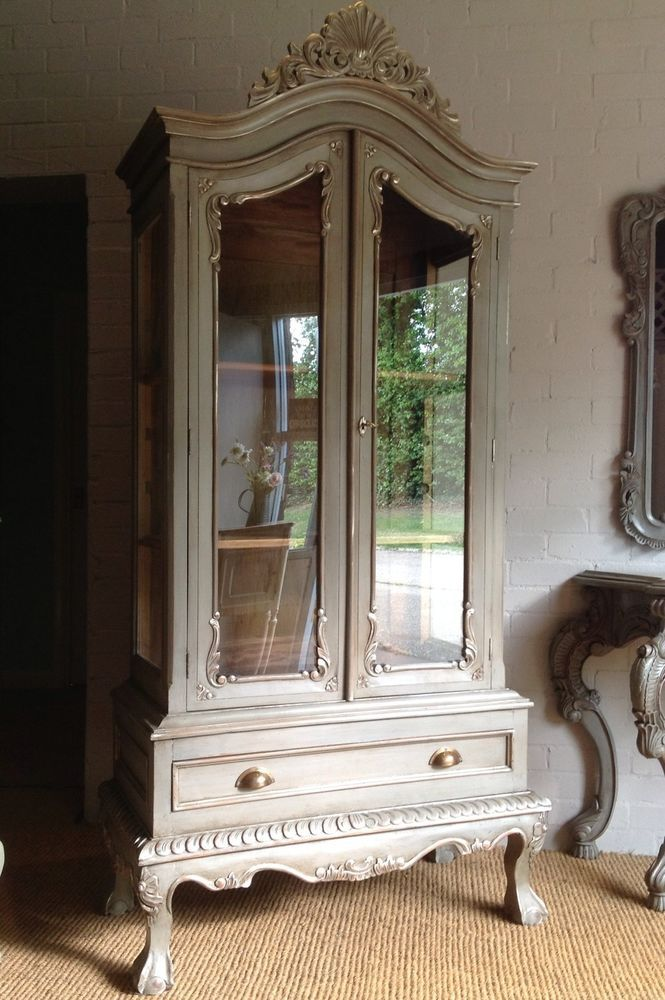 Painted French Antique Style Armoire Repro Rococo Louis XV Display ...