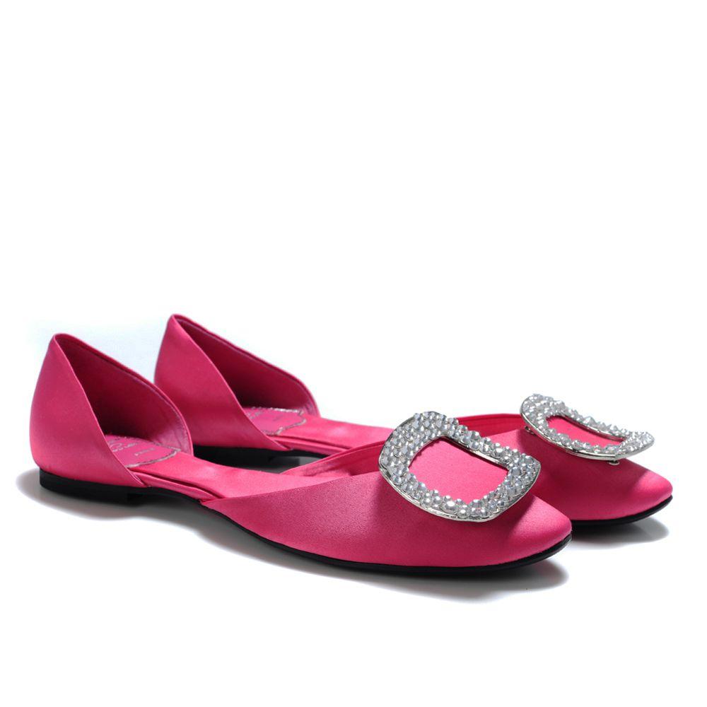Womens Flats Roger Vivier Ballerine Chips Crystal Buckle Flats Rose Flats Pink Under Discount