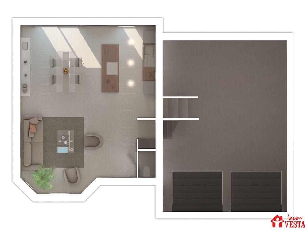 Maisons VESTA : plan du rez-de-chaussée et sous-sol du modèle Montana (demi-niveau) type F5 96 m² + surface annexe 47 m² (combles en option)