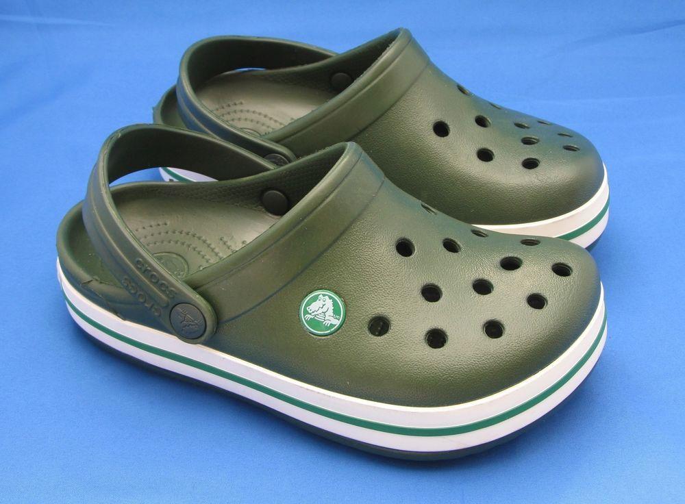 c0df9ebb6b3674 Childrens Crocs Crocband Clogs Size J 1 Forest Green White Dark Shoes Boys  Girls  fashion  clothing  shoes  accessories  kidsclothingshoesaccs   unisexshoes ...