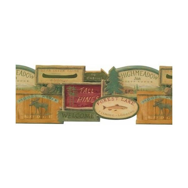 York Wallcoverings WL5569BLM Rustic Lodge Signs Border Teal / Mustard ($31) ❤ liked on Polyvore featuring home, home decor, wallpaper, borders, york wallcoverings, welcome sign, wooden welcome sign, painted wood signs and teal wallpaper