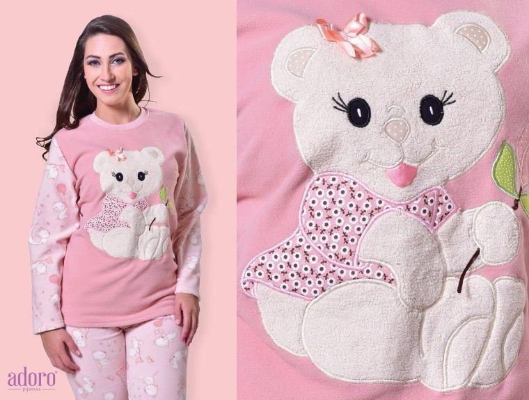 8bd98cb70 Pijama fofo com bordado do ursinho cut.