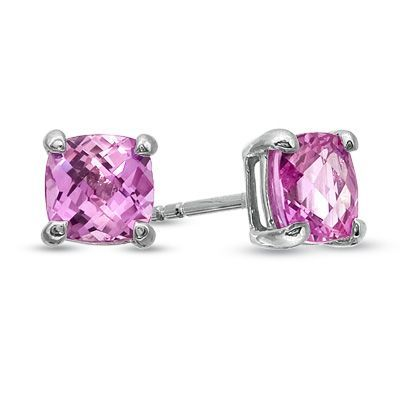 Zales 6.0mm Heart-Shaped Lab-Created Pink Sapphire Solitaire Stud Earrings in 10K Gold Hq2rmN03DE