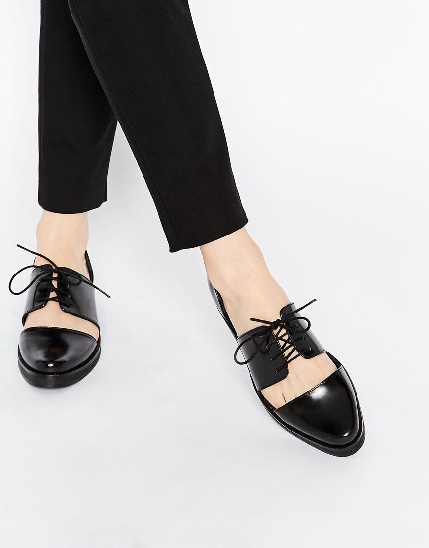 ASOS  Park Lane Cut Out Lace Up Leather Flat Shoes