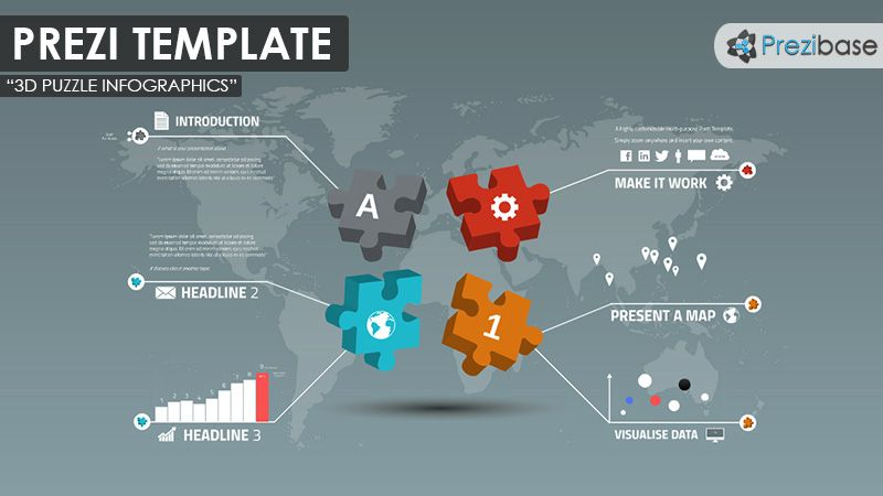 An infographic prezi template with colorful 3d jigsaw puzzle pieces an infographic prezi template with colorful 3d jigsaw puzzle pieces on a world map background gumiabroncs Image collections