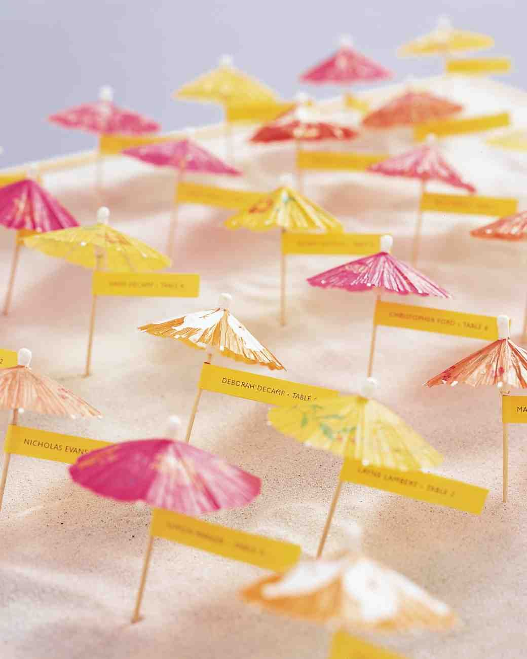 Photo martha stewart charles maraia beachjersey shore escort these cheerfully colored umbrellas sporting seating assignments can dot miniature sand dunes at the entrance to a summer reception jeuxipadfo Choice Image