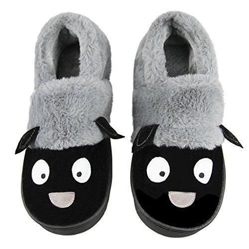 Uni Winter Indoor Slip On Slippers Cartoon Sheep Cozy Fleece Plush Warm Mules Faux Fur Furry Scuff Slipper Boot Foot Warmer Non House Bedroom Ankle