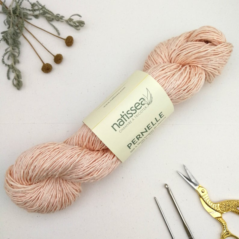 Eco Yarn - Hemp in Peach - Eco friendly and dyed with vegan dyes - Natissea Pernelle