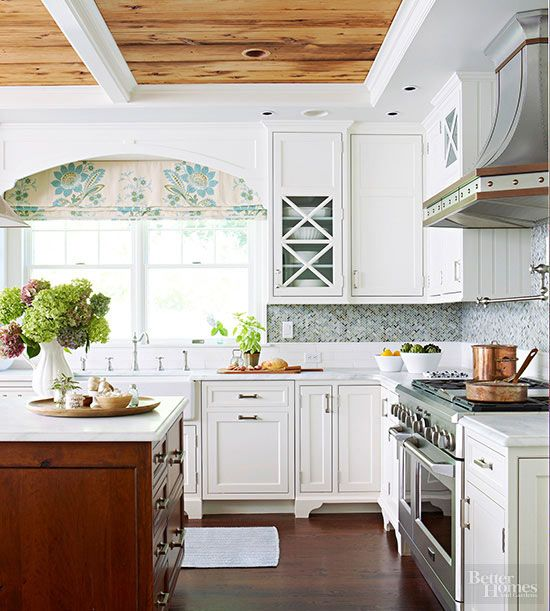 Give A Clic Kitchen Rustic Touch With Natural Wood Ceiling
