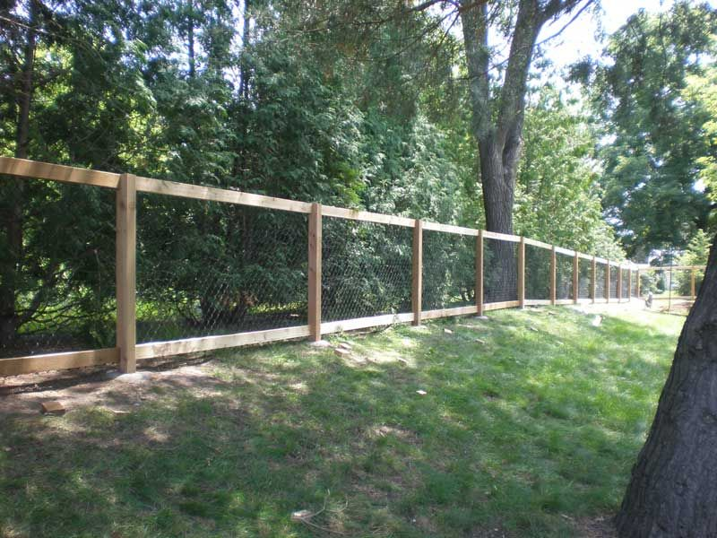 Chain Link With Wood Frame Types Of Fences Outdoor Wood Frame