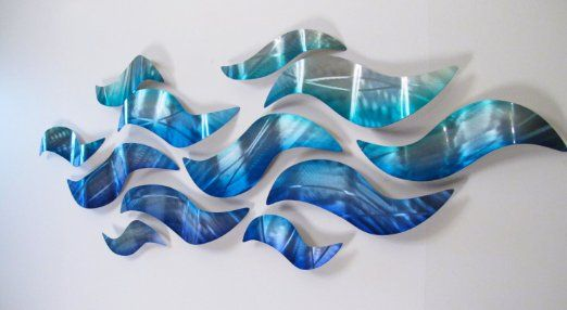 "Amazon.com - ""Rip Tide"" Modern Abstract Metal Wall Art Blue Silver ..."