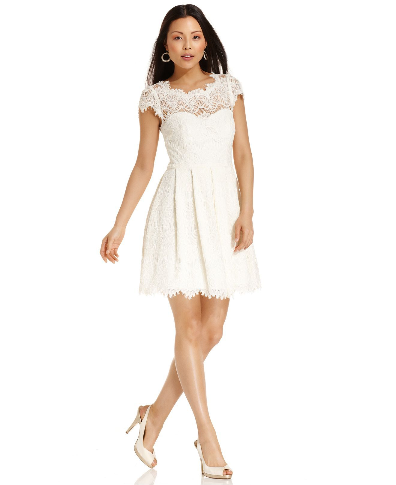 Xscape dress cap sleeve lace white