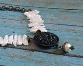 Vintage Button and Pearl Pendant Handmade Necklace