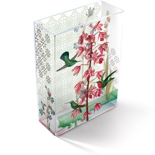Fringe Studio Lily Vine Vase With Hummingbirds Transferware Art Glass Vase 8 Quot H X 6 Quot W X 2 5 Quot D