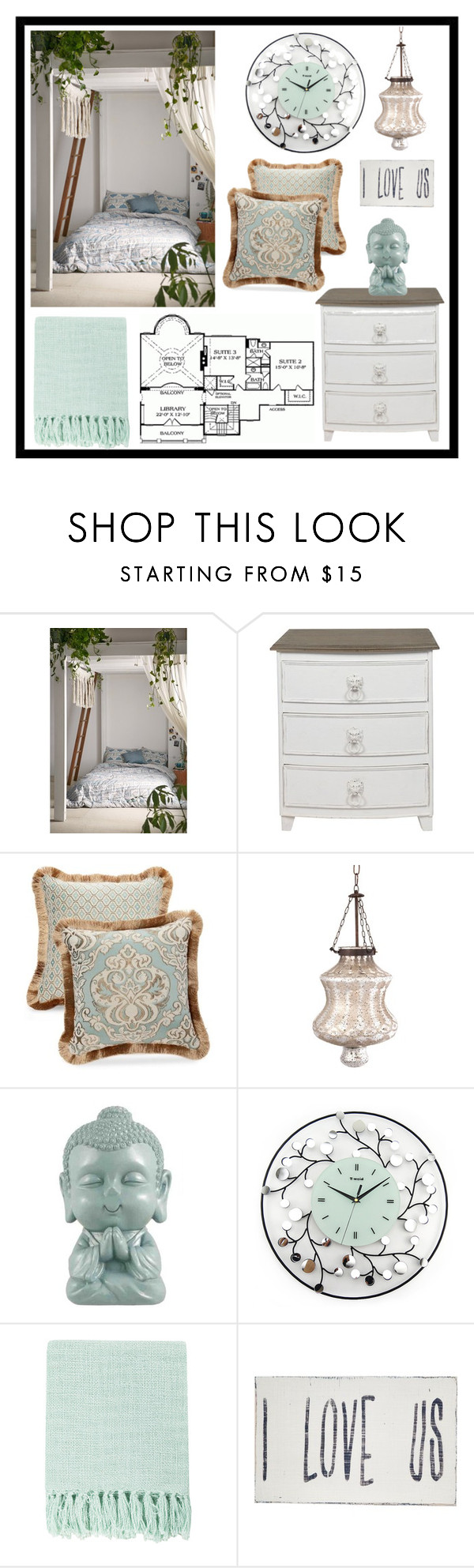 """""""Bedroom in Mint"""" by alynncameron ❤ liked on Polyvore featuring interior, interiors, interior design, home, home decor, interior decorating, Magical Thinking, Home Source International, Occa Maison and Biltmore"""