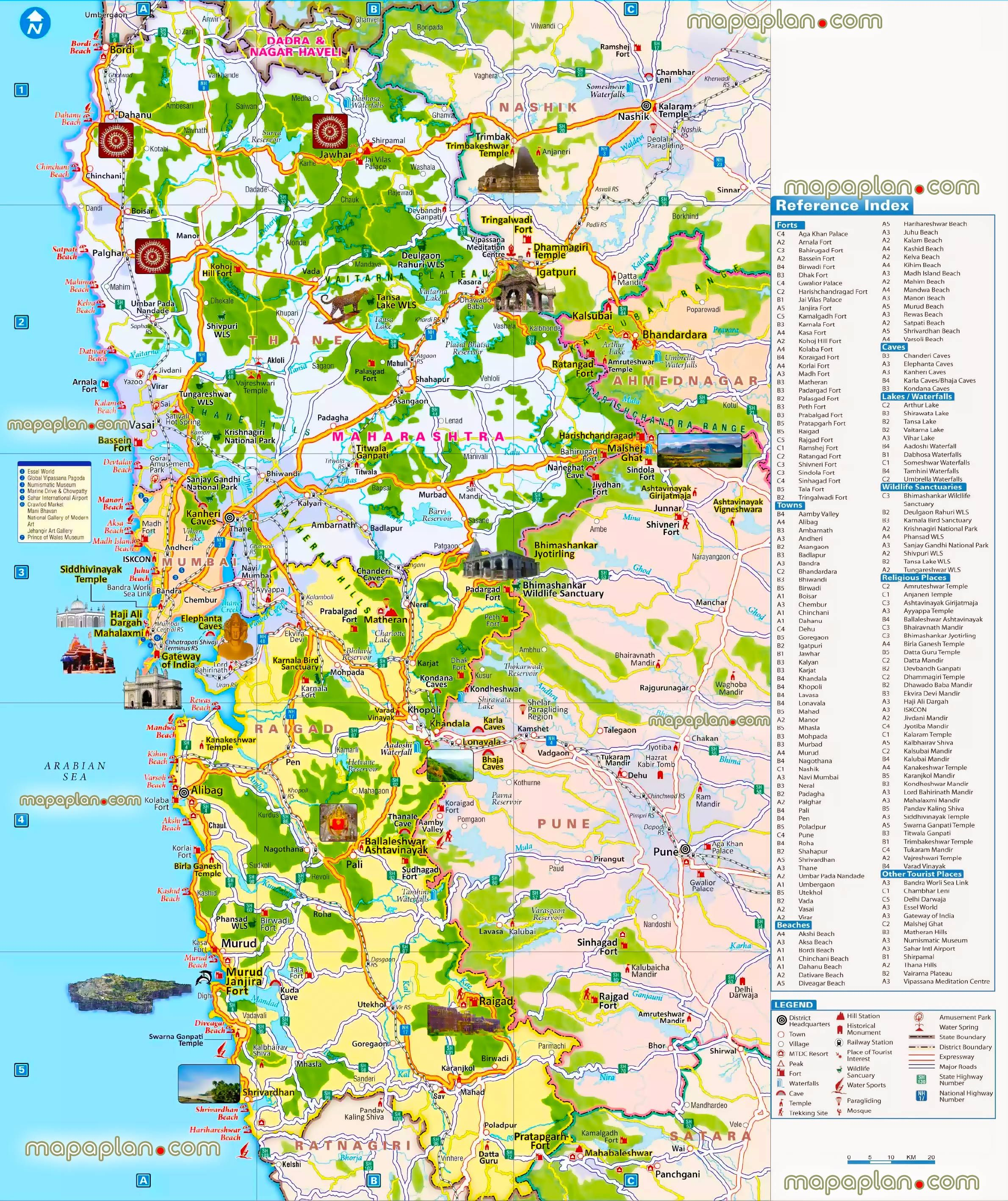 bombay metropolitan region surrounding suburbs cities towns villages places visitors top attractions india offline download virtual interactive hd plan overview region trip highlights high quality large scale vector aerial satellite poster roads view zoning main district areas municipal regionss Mumbai top tourist attractions map