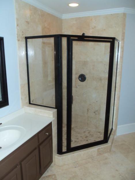 Black Framed Shower Doors Instead Of Frameless Bathrooms
