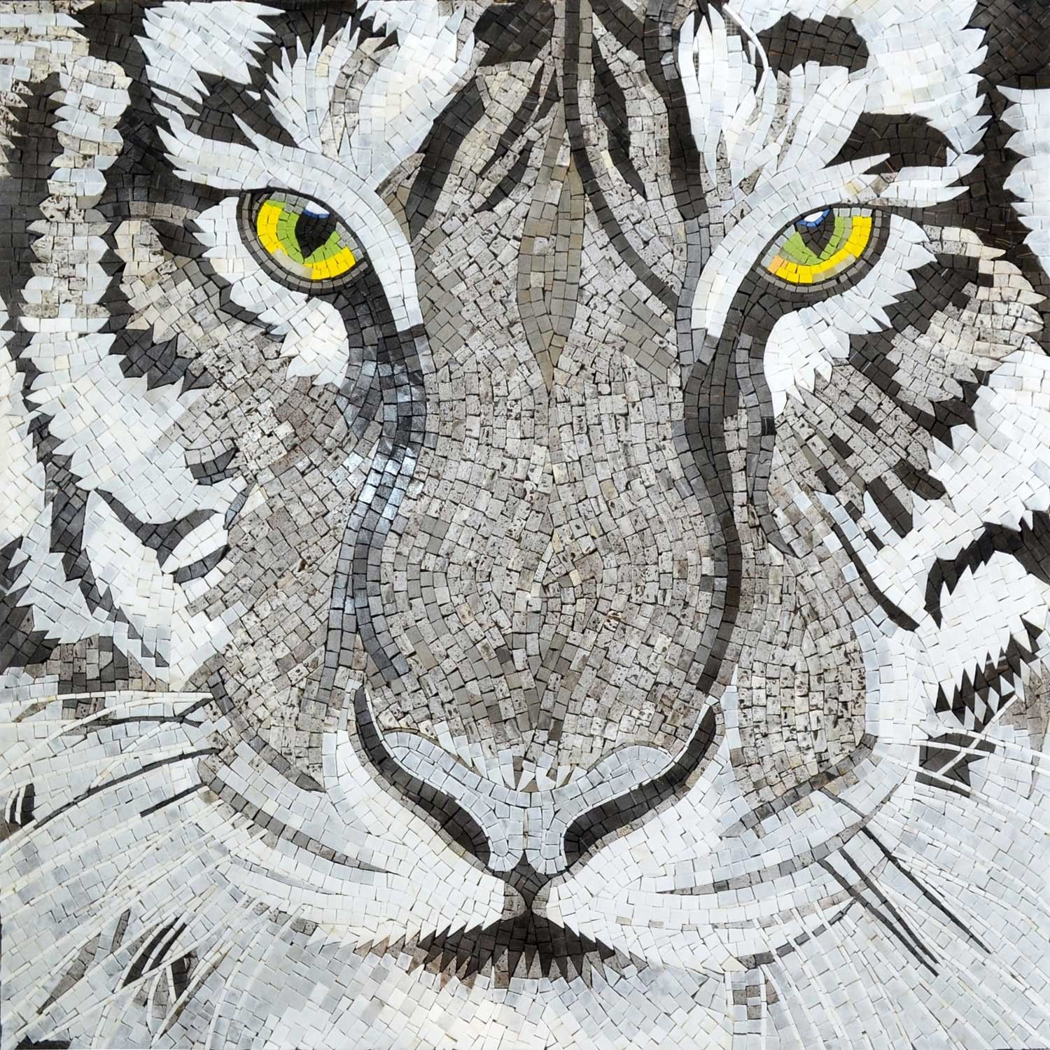 This mosaic illustrates a beautiful tiger a majestic and rare items similar to white tiger eyes marble mosaic tile animal artwork wall design for home decor on etsy biocorpaavc