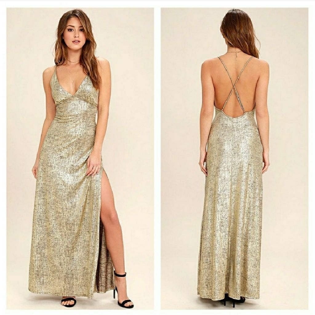 Lulus disco days gold maxi dress products