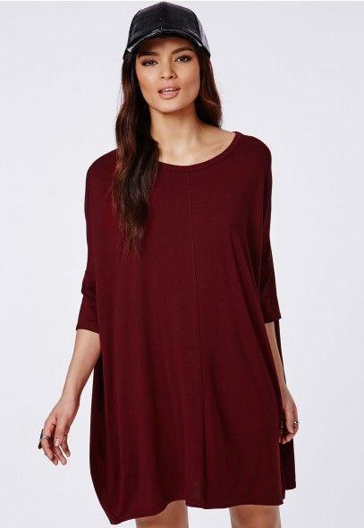 Oversized T-Shirt Dress Burgundy - Dresses - T-Shirt Dresses - Missguided